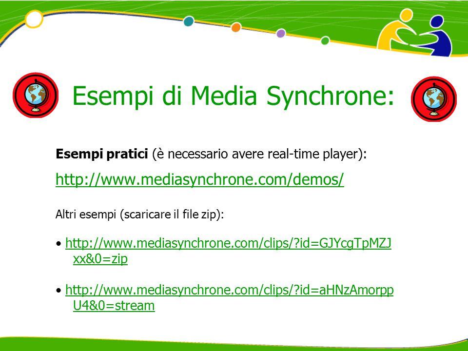 Esempi di Media Synchrone: Esempi pratici (è necessario avere real-time player): http://www.mediasynchrone.com/demos/ Altri esempi (scaricare il file zip): http://www.mediasynchrone.com/clips/ id=GJYcgTpMZJ xx&0=ziphttp://www.mediasynchrone.com/clips/ id=GJYcgTpMZJ xx&0=zip http://www.mediasynchrone.com/clips/ id=aHNzAmorpp U4&0=streamhttp://www.mediasynchrone.com/clips/ id=aHNzAmorpp U4&0=stream