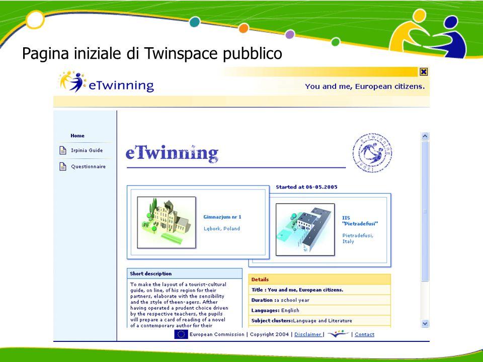 Pagina iniziale di Twinspace pubblico
