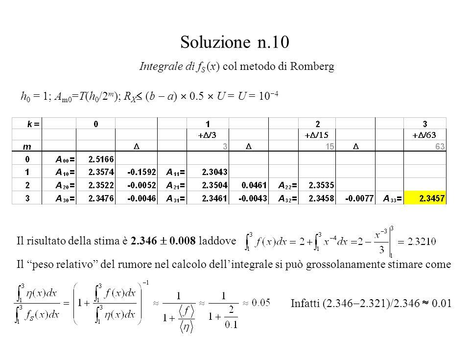 """Soluzione n.10 Integrale di f S (x) col metodo di Romberg Il risultato della stima è 2.346  0.008 laddove Il """"peso relativo"""" del rumore nel calcolo d"""