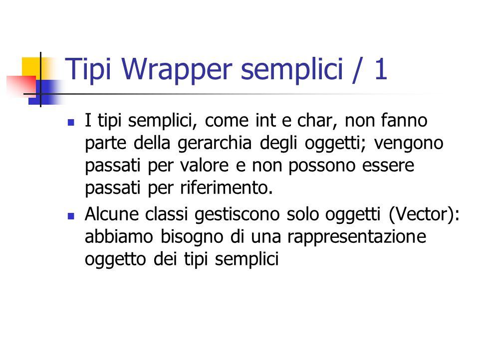 Tipi Wrapper semplici / 1 I tipi semplici, come int e char, non fanno parte della gerarchia degli oggetti; vengono passati per valore e non possono essere passati per riferimento.