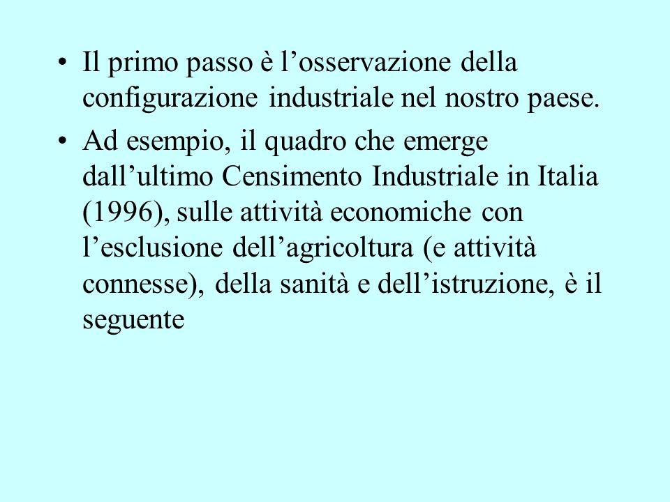 Il primo passo è l'osservazione della configurazione industriale nel nostro paese.