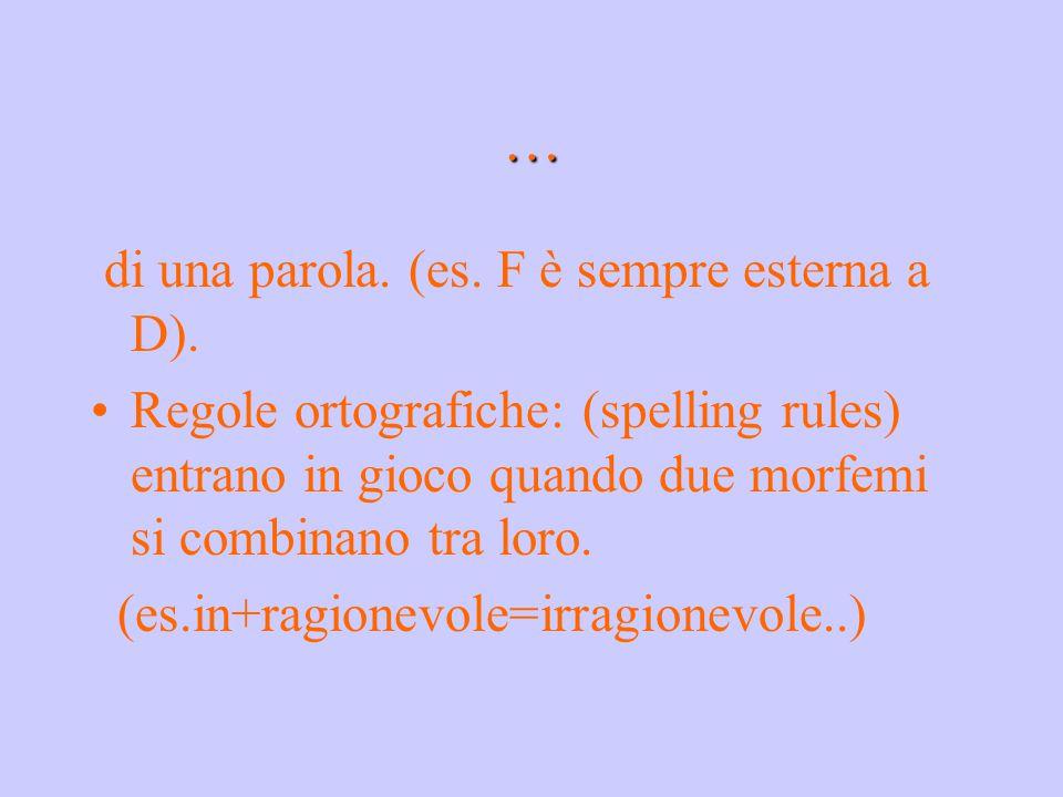 … di una parola. (es. F è sempre esterna a D). Regole ortografiche: (spelling rules) entrano in gioco quando due morfemi si combinano tra loro. (es.in
