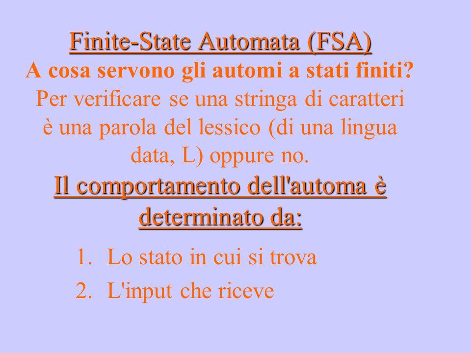 Finite-State Automata (FSA) Il comportamento dell'automa è determinato da: Finite-State Automata (FSA) A cosa servono gli automi a stati finiti? Per v