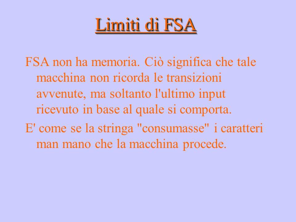 Limiti di FSA FSA non ha memoria. Ciò significa che tale macchina non ricorda le transizioni avvenute, ma soltanto l'ultimo input ricevuto in base al