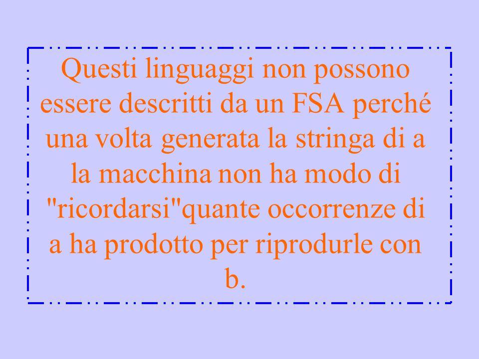 Questi linguaggi non possono essere descritti da un FSA perché una volta generata la stringa di a la macchina non ha modo di