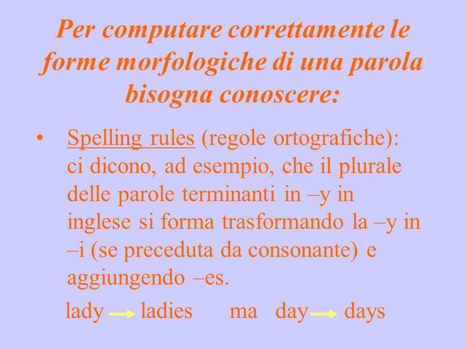 Per computare correttamente le forme morfologiche di una parola bisogna conoscere: Spelling rules (regole ortografiche): ci dicono, ad esempio, che il