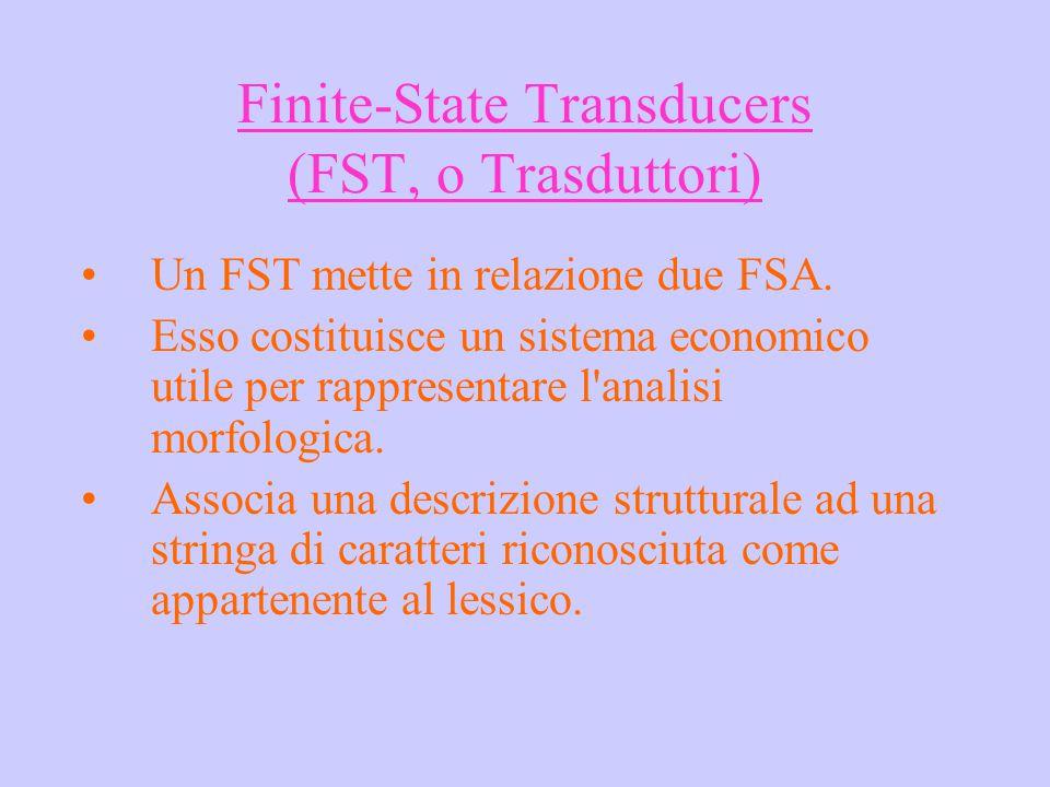 Finite-State Transducers (FST, o Trasduttori) Un FST mette in relazione due FSA. Esso costituisce un sistema economico utile per rappresentare l'anali