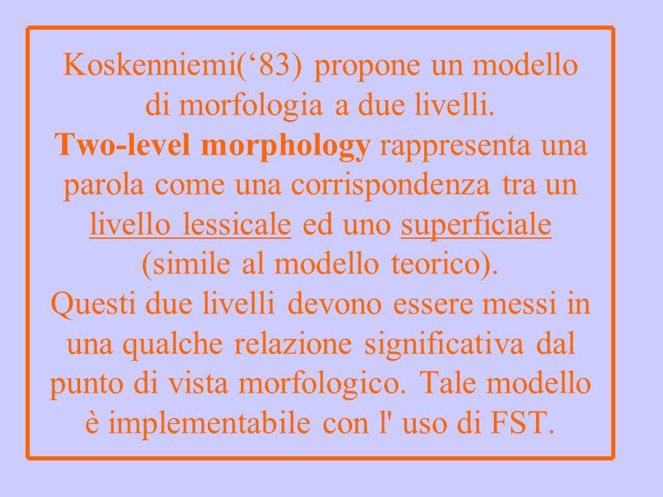 Koskenniemi('83) propone un modello di morfologia a due livelli. Two-level morphology rappresenta una parola come una corrispondenza tra un livello le