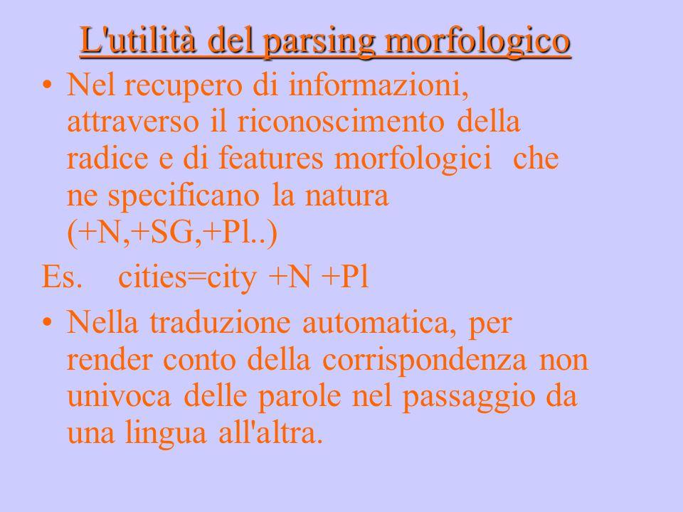 L'utilità del parsing morfologico Nel recupero di informazioni, attraverso il riconoscimento della radice e di features morfologici che ne specificano