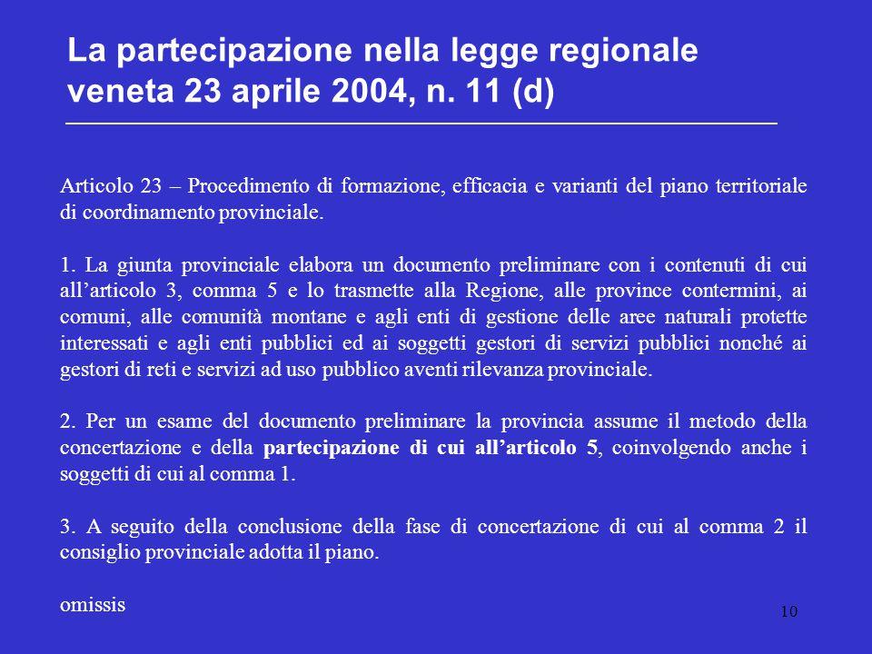 10 La partecipazione nella legge regionale veneta 23 aprile 2004, n. 11 (d) Articolo 23 – Procedimento di formazione, efficacia e varianti del piano t
