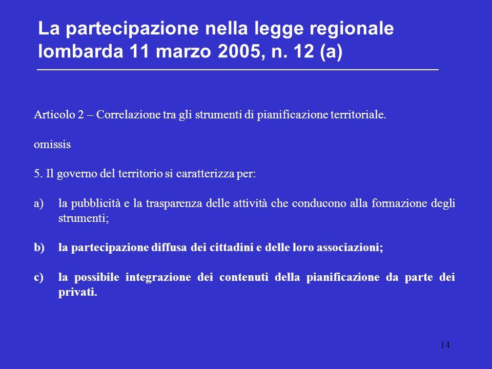 14 La partecipazione nella legge regionale lombarda 11 marzo 2005, n. 12 (a) Articolo 2 – Correlazione tra gli strumenti di pianificazione territorial