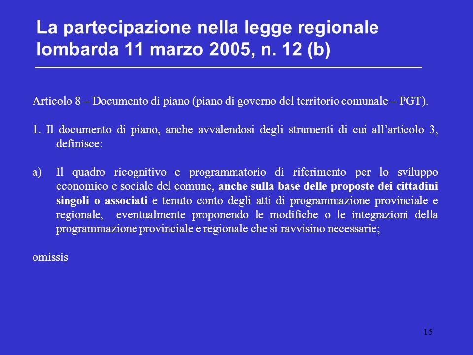 15 La partecipazione nella legge regionale lombarda 11 marzo 2005, n. 12 (b) Articolo 8 – Documento di piano (piano di governo del territorio comunale