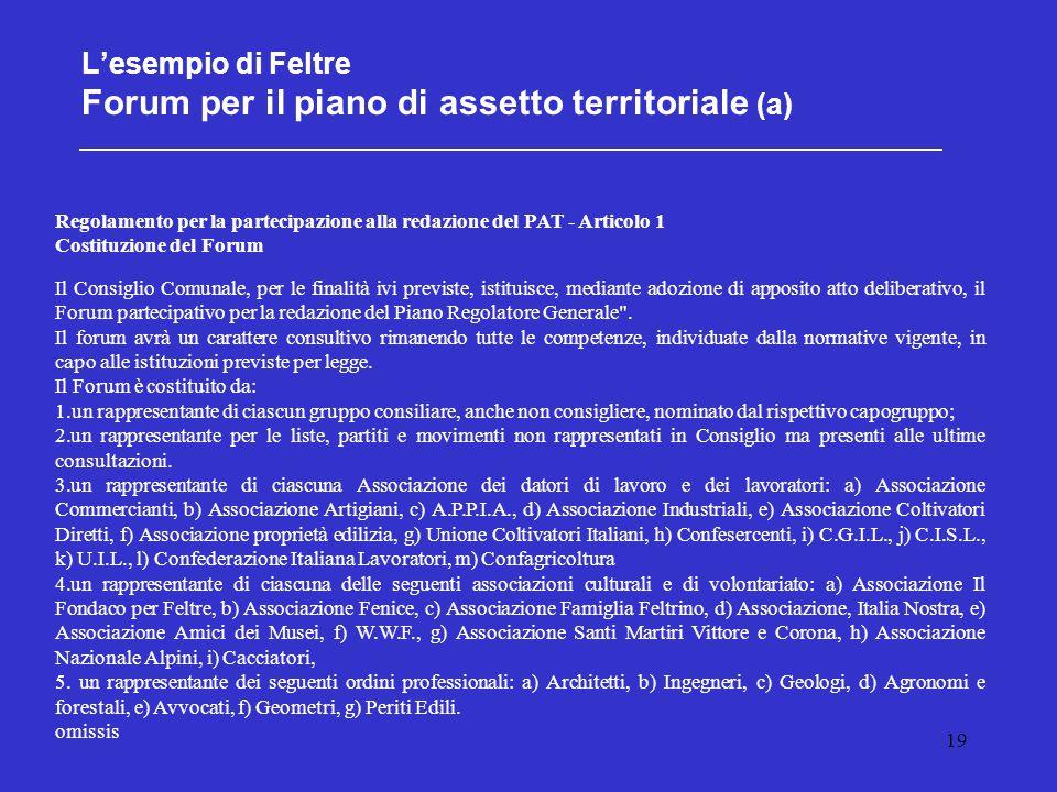 19 L'esempio di Feltre Forum per il piano di assetto territoriale (a) Regolamento per la partecipazione alla redazione del PAT - Articolo 1 Costituzio