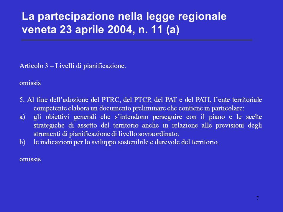 7 La partecipazione nella legge regionale veneta 23 aprile 2004, n. 11 (a) Articolo 3 – Livelli di pianificazione. omissis 5. Al fine dell'adozione de