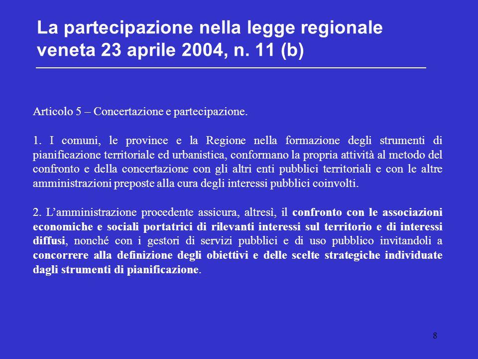 8 La partecipazione nella legge regionale veneta 23 aprile 2004, n. 11 (b) Articolo 5 – Concertazione e partecipazione. 1. I comuni, le province e la