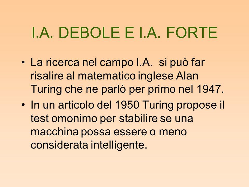 I.A. DEBOLE E I.A. FORTE La ricerca nel campo I.A. si può far risalire al matematico inglese Alan Turing che ne parlò per primo nel 1947. In un artico