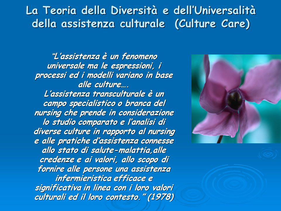 """La Teoria della Diversità e dell'Universalità della assistenza culturale (Culture Care) """" L'assistenza è un fenomeno universale ma le espressioni, i p"""