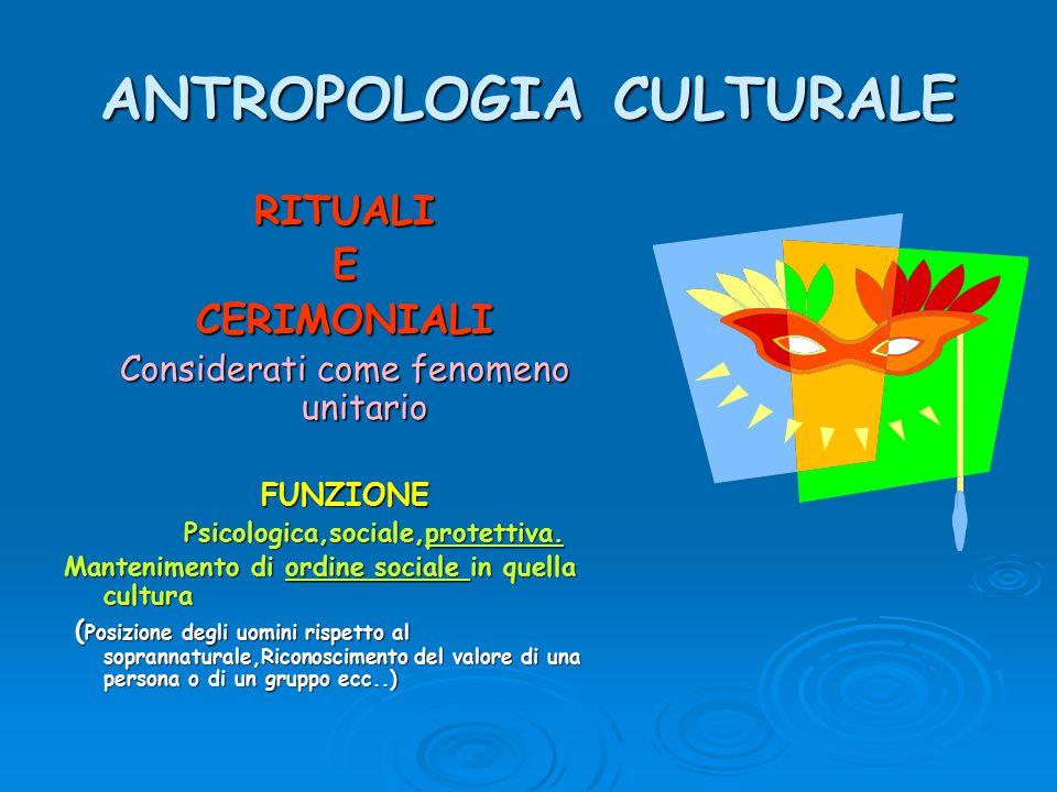 ANTROPOLOGIA CULTURALE RITUALIECERIMONIALI Considerati come fenomeno unitario FUNZIONE Psicologica,sociale,protettiva. Psicologica,sociale,protettiva.