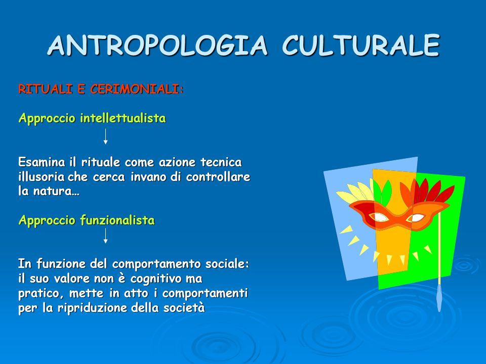 ANTROPOLOGIA CULTURALE RITUALI E CERIMONIALI: Approccio intellettualista Esamina il rituale come azione tecnica illusoria che cerca invano di controll