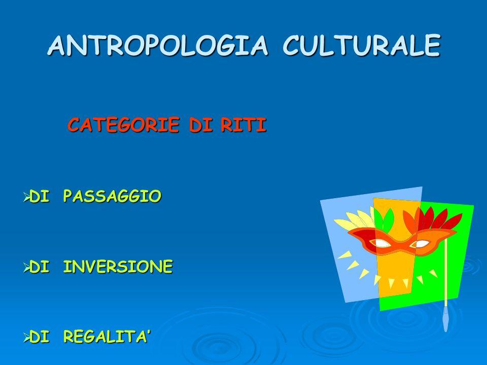 ANTROPOLOGIA CULTURALE CATEGORIE DI RITI  DI PASSAGGIO  DI INVERSIONE  DI REGALITA'
