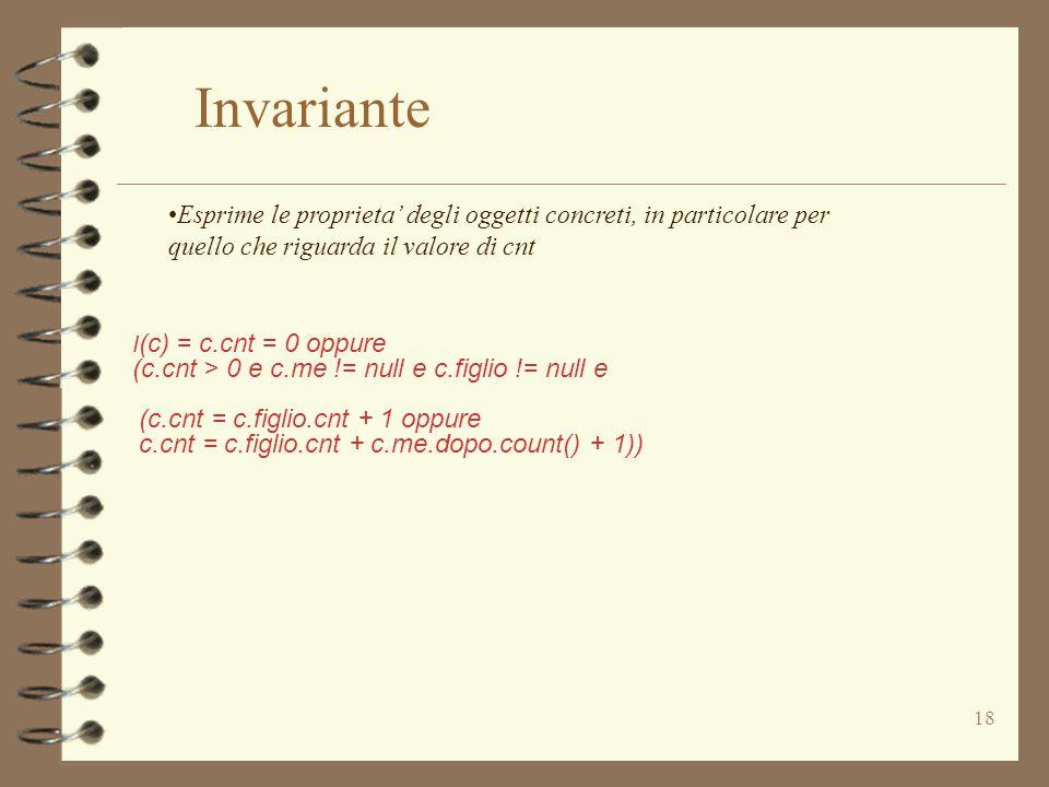 18 I (c) = c.cnt = 0 oppure (c.cnt > 0 e c.me != null e c.figlio != null e (c.cnt = c.figlio.cnt + 1 oppure c.cnt = c.figlio.cnt + c.me.dopo.count() + 1)) Invariante Esprime le proprieta' degli oggetti concreti, in particolare per quello che riguarda il valore di cnt