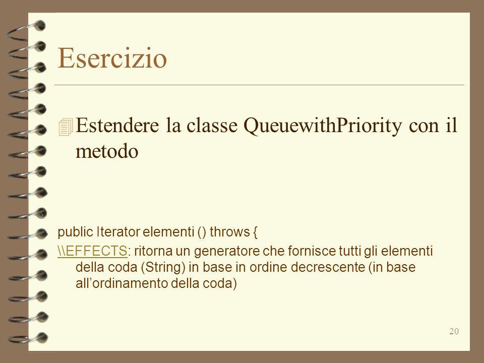 20 Esercizio 4 Estendere la classe QueuewithPriority con il metodo public Iterator elementi () throws { \\EFFECTS\\EFFECTS: ritorna un generatore che fornisce tutti gli elementi della coda (String) in base in ordine decrescente (in base all'ordinamento della coda)
