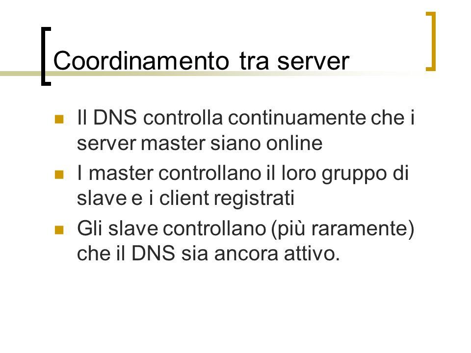 Coordinamento tra server Il DNS controlla continuamente che i server master siano online I master controllano il loro gruppo di slave e i client registrati Gli slave controllano (più raramente) che il DNS sia ancora attivo.