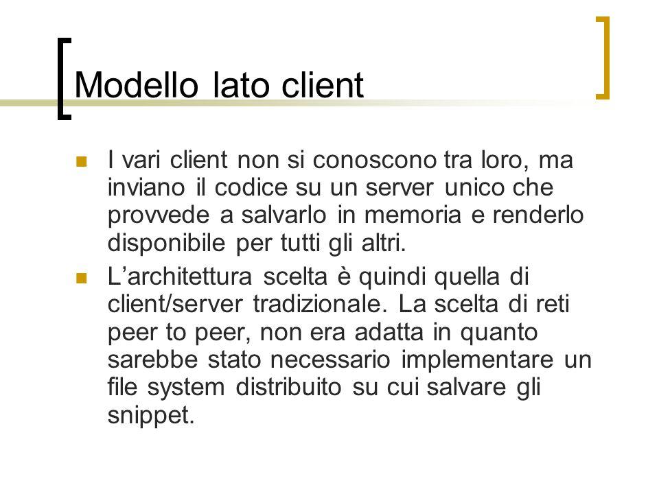 Modello lato client I vari client non si conoscono tra loro, ma inviano il codice su un server unico che provvede a salvarlo in memoria e renderlo disponibile per tutti gli altri.