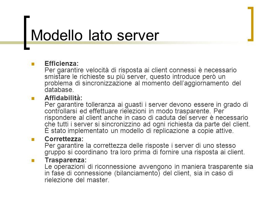 Modello lato server Efficienza: Per garantire velocità di risposta ai client connessi è necessario smistare le richieste su più server, questo introduce però un problema di sincronizzazione al momento dell'aggiornamento del database.