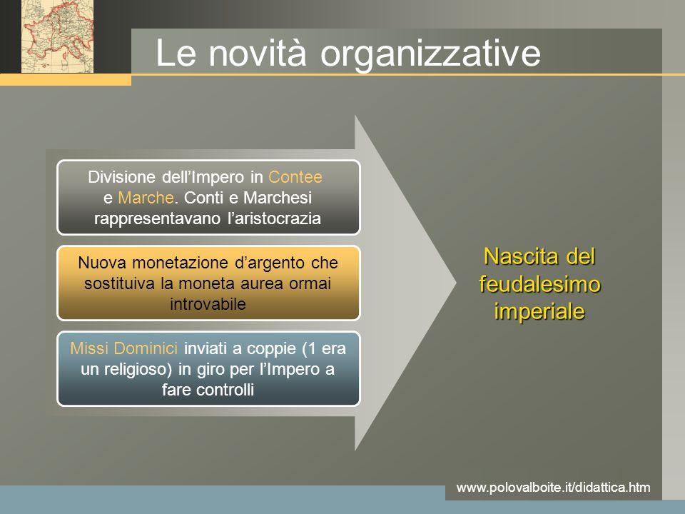 www.polovalboite.it/didattica.htm Le novità organizzative Divisione dell'Impero in Contee e Marche. Conti e Marchesi rappresentavano l'aristocrazia Nu