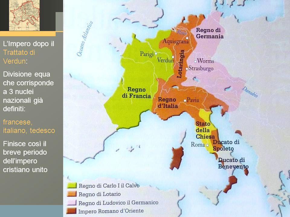 www.polovalboite.it/didattica.htm L'Impero dopo il Trattato di Verdun: Divisione equa che corrisponde a 3 nuclei nazionali già definiti: francese, ita