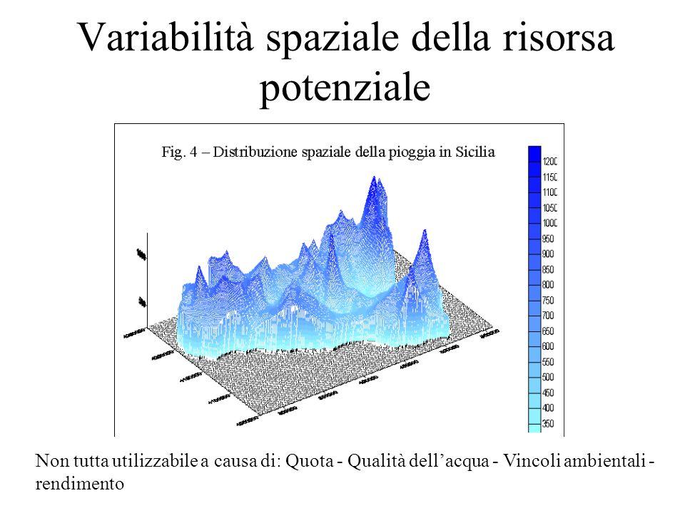 Variabilità spaziale della risorsa potenziale Non tutta utilizzabile a causa di: Quota - Qualità dell'acqua - Vincoli ambientali - rendimento
