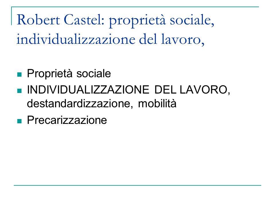 Robert Castel: proprietà sociale, individualizzazione del lavoro, Proprietà sociale INDIVIDUALIZZAZIONE DEL LAVORO, destandardizzazione, mobilità Precarizzazione