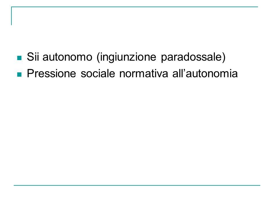 Sii autonomo (ingiunzione paradossale) Pressione sociale normativa all'autonomia