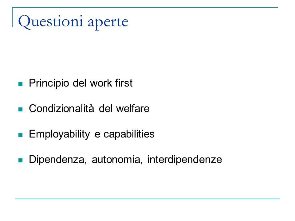 Questioni aperte Principio del work first Condizionalità del welfare Employability e capabilities Dipendenza, autonomia, interdipendenze