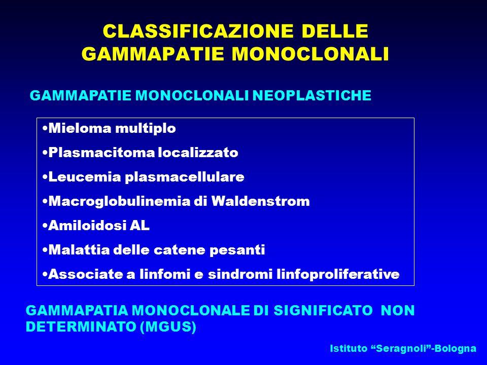 Istituto Seragnoli -Bologna CLASSIFICAZIONE DELLE GAMMAPATIE MONOCLONALI GAMMAPATIE MONOCLONALI NEOPLASTICHE GAMMAPATIA MONOCLONALE DI SIGNIFICATO NON DETERMINATO (MGUS) Mieloma multiplo Plasmacitoma localizzato Leucemia plasmacellulare Macroglobulinemia di Waldenstrom Amiloidosi AL Malattia delle catene pesanti Associate a linfomi e sindromi linfoproliferative