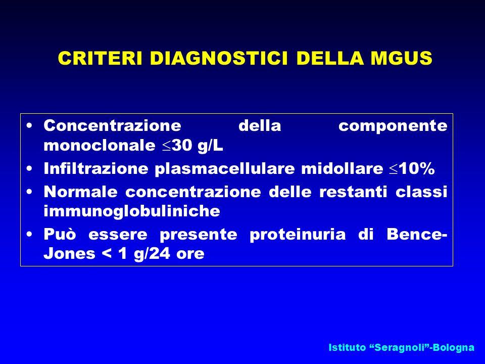CRITERI DIAGNOSTICI DELLA MGUS Concentrazione della componente monoclonale  30 g/L Infiltrazione plasmacellulare midollare  10% Normale concentrazione delle restanti classi immunoglobuliniche Può essere presente proteinuria di Bence- Jones < 1 g/24 ore