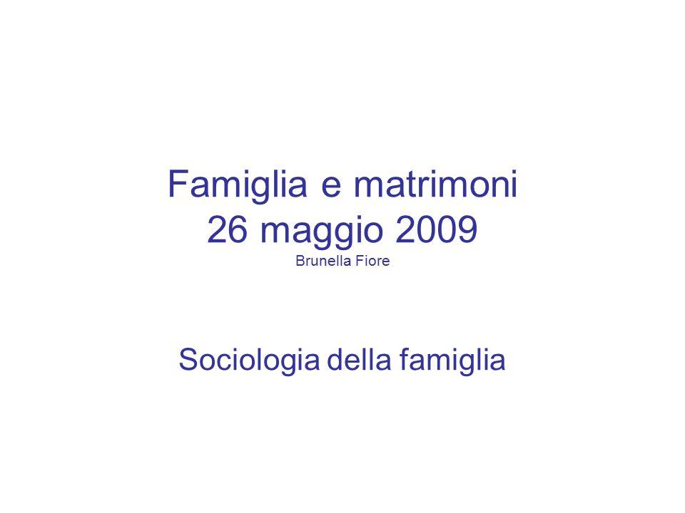 Famiglia e matrimoni 26 maggio 2009 Brunella Fiore Sociologia della famiglia