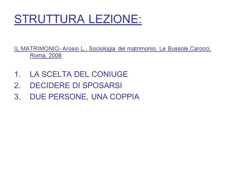 STRUTTURA LEZIONE: IL MATRIMONIO- Arosio L., Sociologia del matrimonio, Le Bussole,Carocci, Roma, 2008 1.LA SCELTA DEL CONIUGE 2.DECIDERE DI SPOSARSI