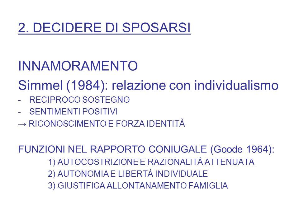 2. DECIDERE DI SPOSARSI INNAMORAMENTO Simmel (1984): relazione con individualismo -RECIPROCO SOSTEGNO -SENTIMENTI POSITIVI → RICONOSCIMENTO E FORZA ID