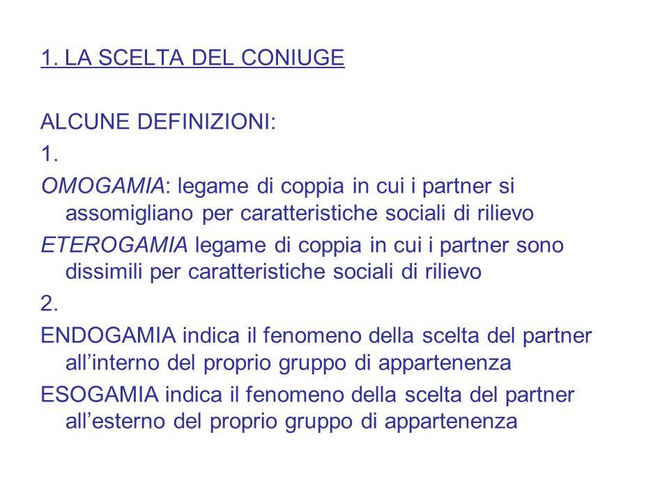 1. LA SCELTA DEL CONIUGE ALCUNE DEFINIZIONI: 1. OMOGAMIA: legame di coppia in cui i partner si assomigliano per caratteristiche sociali di rilievo ETE
