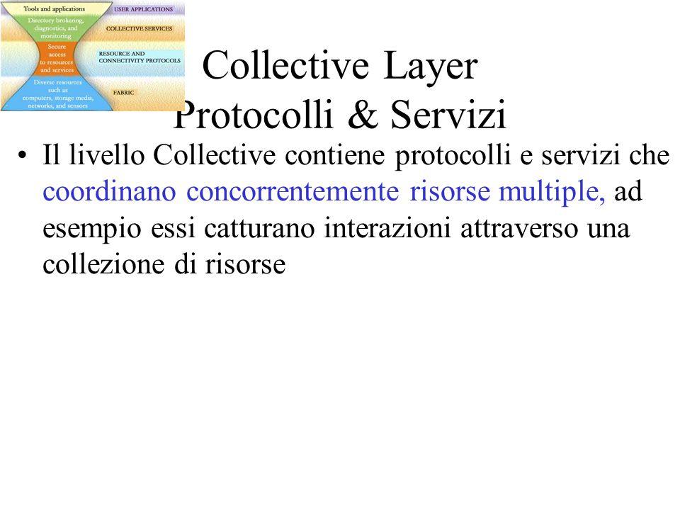 Collective Layer Protocolli & Servizi Il livello Collective contiene protocolli e servizi che coordinano concorrentemente risorse multiple, ad esempio essi catturano interazioni attraverso una collezione di risorse