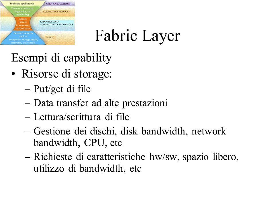 Fabric Layer Esempi di capability Risorse di storage: –Put/get di file –Data transfer ad alte prestazioni –Lettura/scrittura di file –Gestione dei dischi, disk bandwidth, network bandwidth, CPU, etc –Richieste di caratteristiche hw/sw, spazio libero, utilizzo di bandwidth, etc
