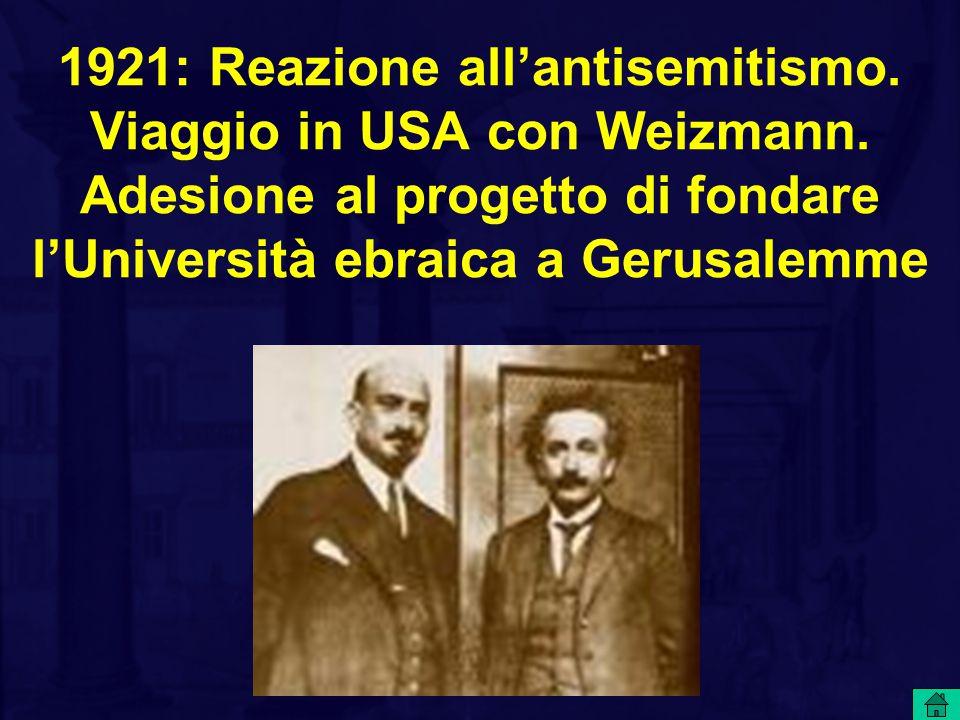 1921: Reazione all'antisemitismo. Viaggio in USA con Weizmann. Adesione al progetto di fondare l'Università ebraica a Gerusalemme
