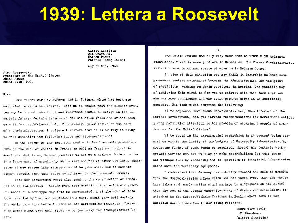 1939: Lettera a Roosevelt