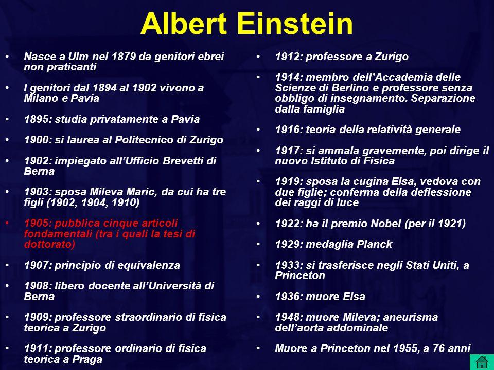 Albert Einstein Nasce a Ulm nel 1879 da genitori ebrei non praticanti I genitori dal 1894 al 1902 vivono a Milano e Pavia 1895: studia privatamente a
