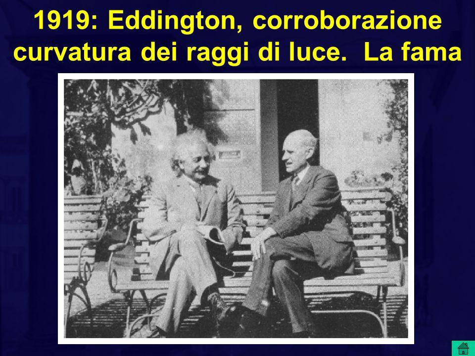 1919: Eddington, corroborazione curvatura dei raggi di luce. La fama