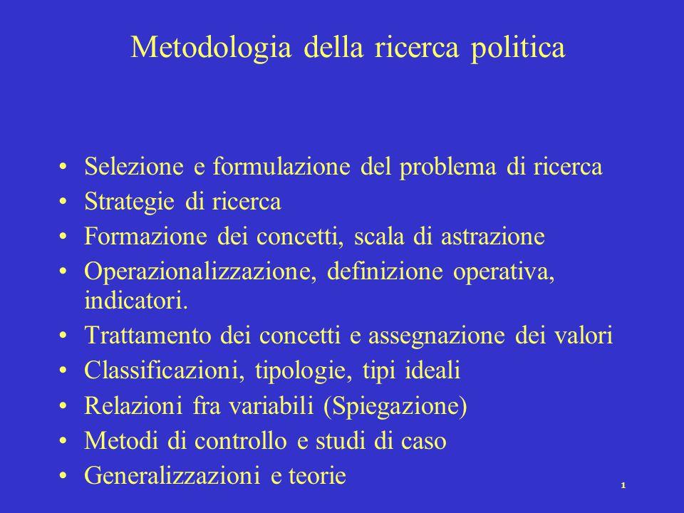 1 Metodologia della ricerca politica Selezione e formulazione del problema di ricerca Strategie di ricerca Formazione dei concetti, scala di astrazione Operazionalizzazione, definizione operativa, indicatori.