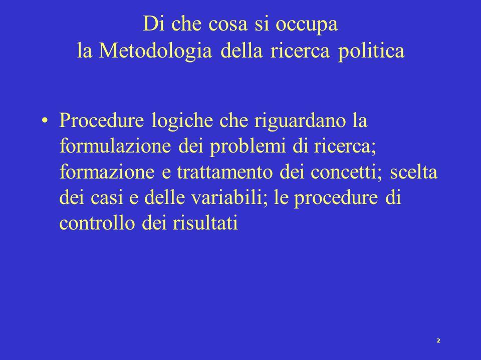 2 Di che cosa si occupa la Metodologia della ricerca politica Procedure logiche che riguardano la formulazione dei problemi di ricerca; formazione e trattamento dei concetti; scelta dei casi e delle variabili; le procedure di controllo dei risultati