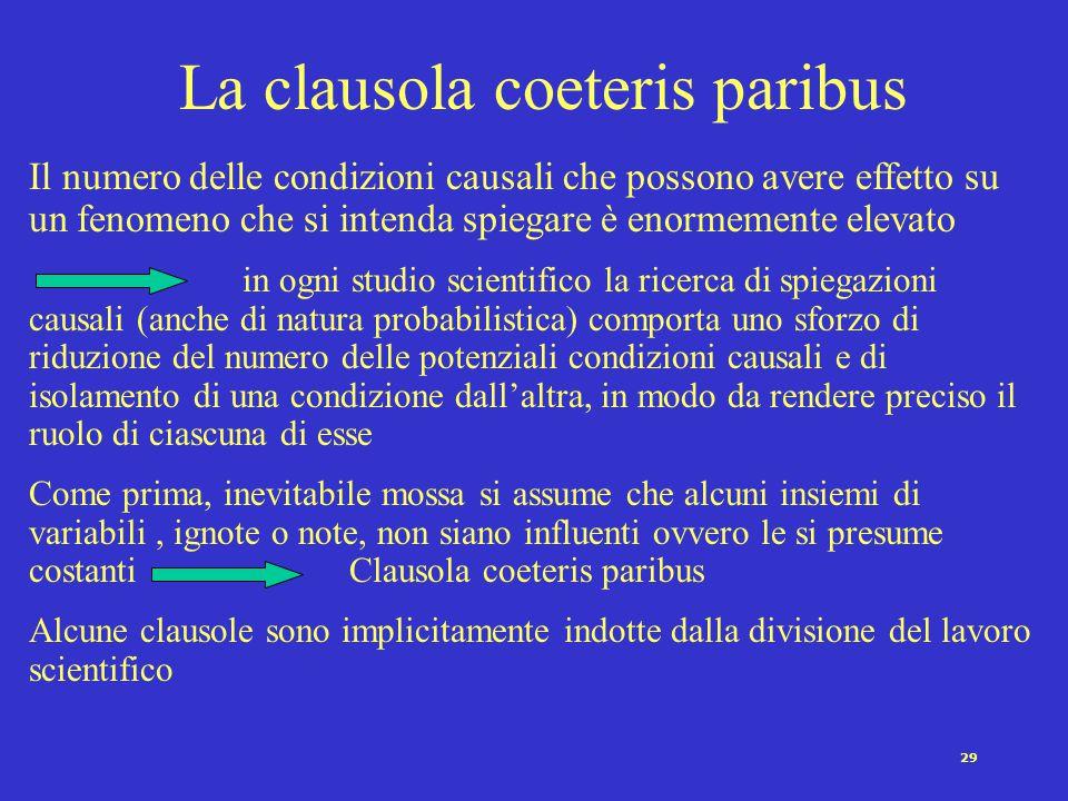 28 Le relazioni fra variabili Una ipotesi è una affermazione circa la relazione fra due o più variabili (Marradi, 1984) Es.